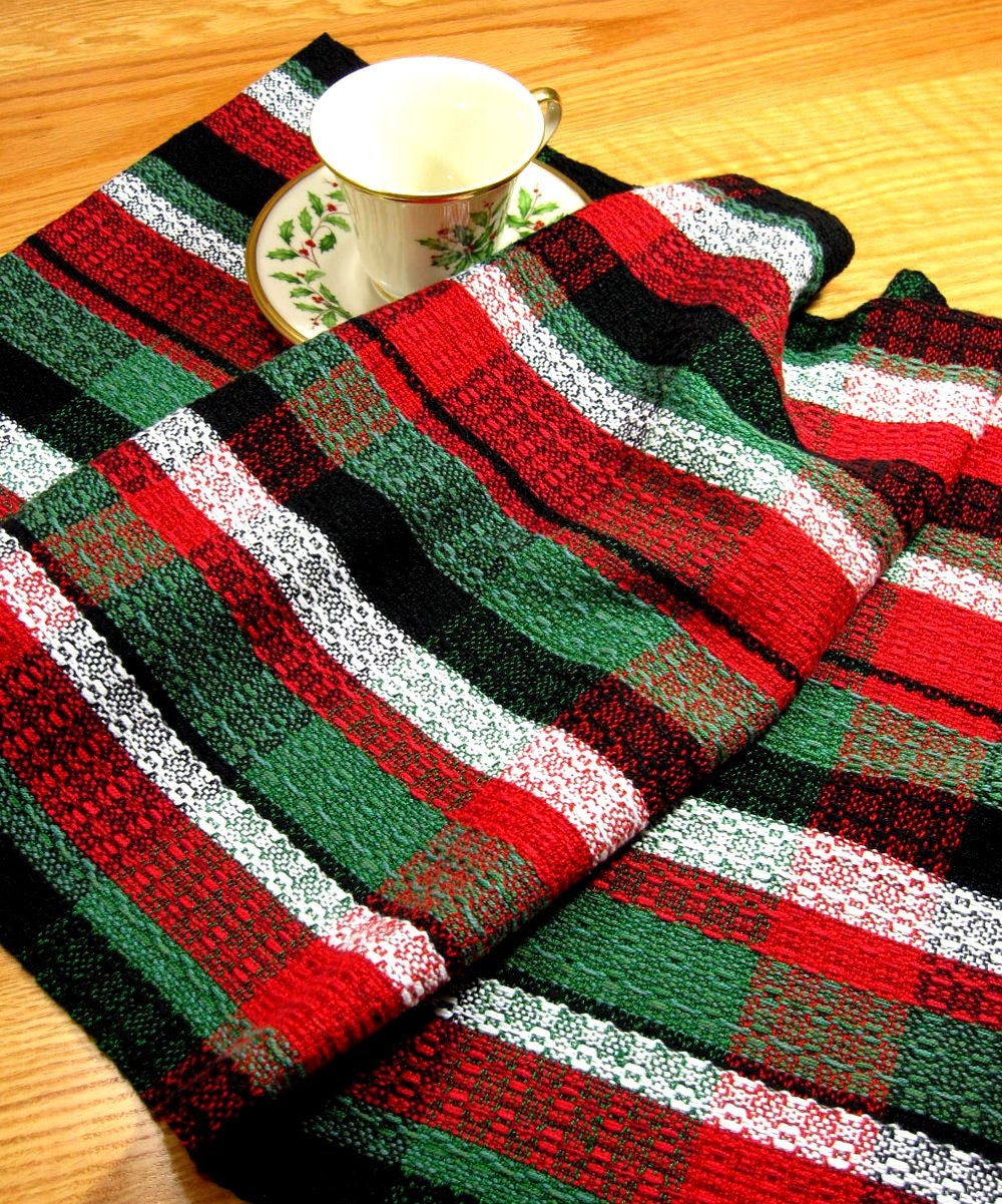 Kitchen Towels Xmas: Handwoven Tea Towel For Christmas Kitchen Towel By