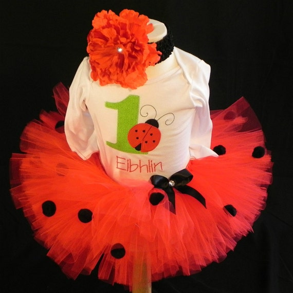 Ladybug First Birthday Tutu Set Fast Shipping