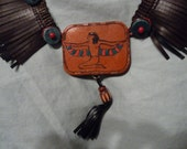 Amazing 1920s Egyptian Revival Leather and Fringe Necklace
