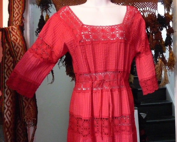 SALE  NOW 100    Sexy Red Mexican Crocheted Dress, Large