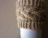 Cream Cabled Coffee Cozy