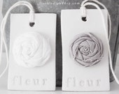 fleur handmade clay tags with gray/white linen rose - Set of 2
