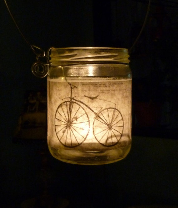 Vintage Bicycle Tealight Jar Lantern Luminary Upcycled