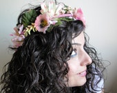 Pink Flowers Hair Crown by cheerfulrosette (ADJUSTABLE)