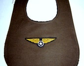 Army green canvas air force pilot wing bib