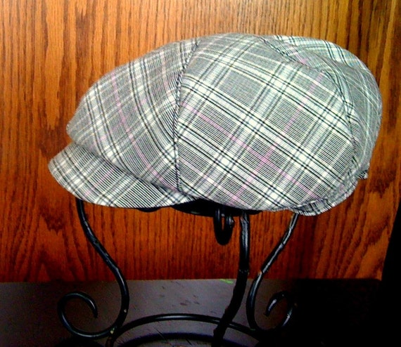 Baby and toddler plaid newsboy cap reversable custom