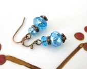Clearance SALE Vintage Blue Crystal Beaded Copper earrings