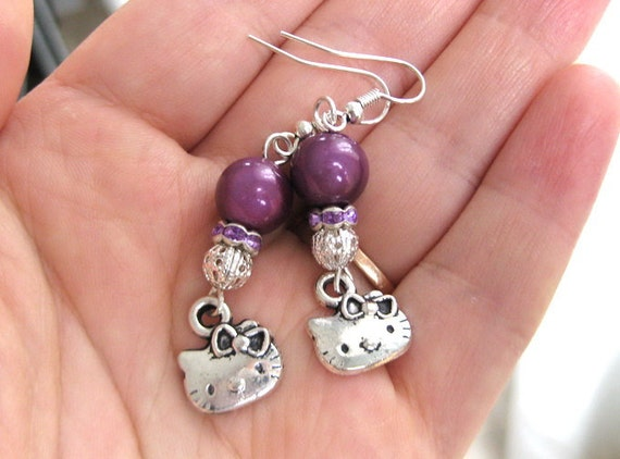 Clearance SALE Miracle Purple Hello Kitty earrings