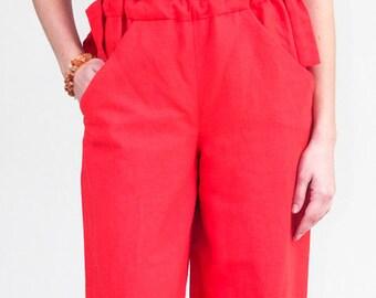 One Shoulder Romper - Linen Jumpsuit - One Shoulder Jumpsuit - Wide Leg Romper - Drawstring Waist Jumpsuit - Red Linen Jumpsuit
