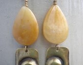 Brass & Yellow Jade Earrings
