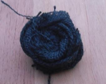Ragged Rosette Black Burlap