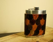 Handmade Tooled Leather Flask Cover - Multicolored Scales Design