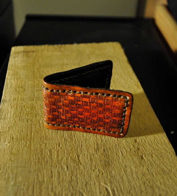 Basketweave Money Clip Business Card Holder - Tooled Leather Saddle Tan