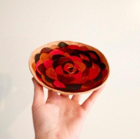 Handmade Tooled Leather Bowl - Medium Multicolor Flower Design