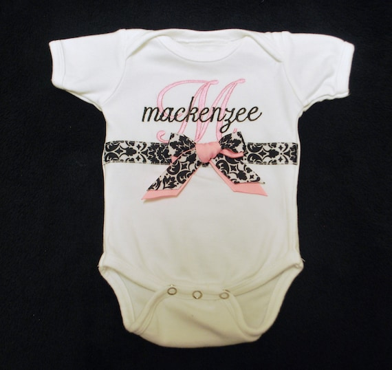 Junie Grace Personalized Ribbon and Bow Onesie