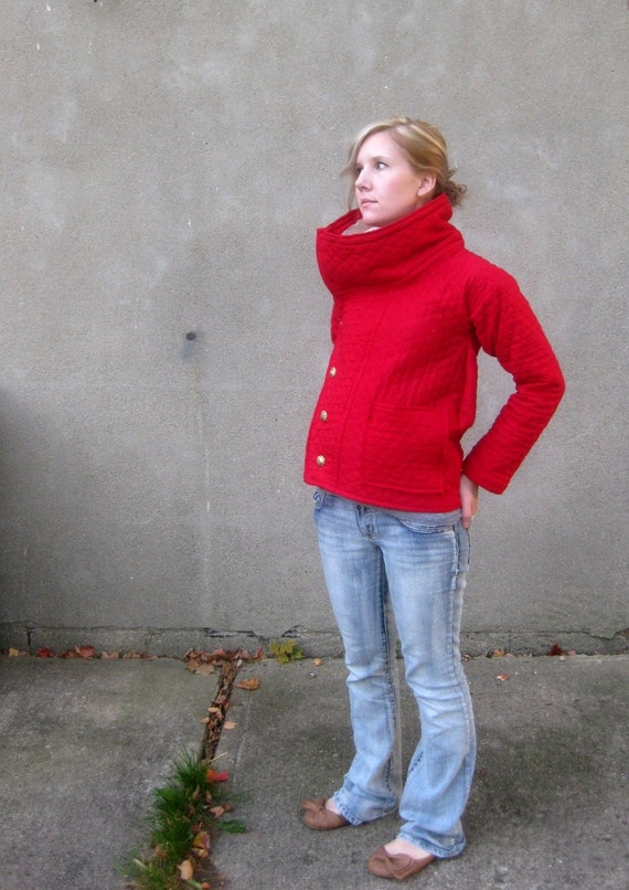 Red Quilted Women's Fall Jacket with Shearling Collar