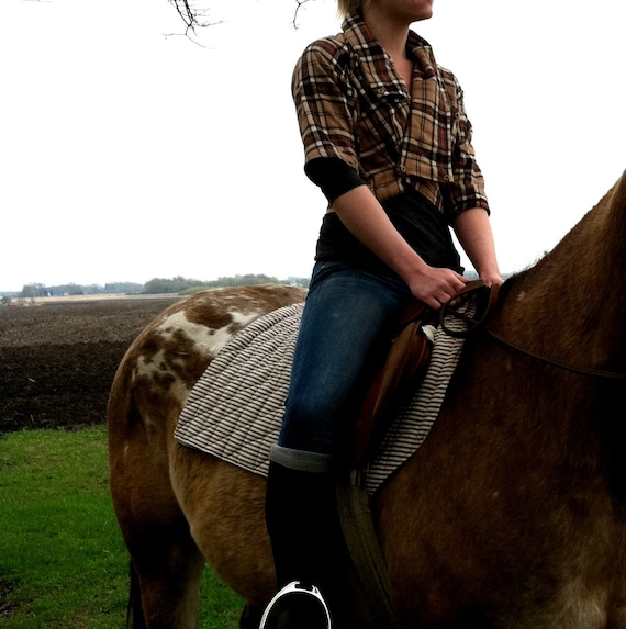 """Women's Cropped Spring Jacket in """"Equestrian Plaid"""""""