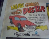 Here Comes Duster Cartoon Auto Ad Crysler