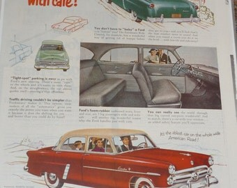 Vintage Magazine  Ad 1952 FORD