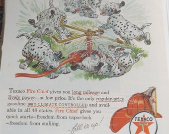 1956 Texaco Fire Chief Dalmations Magazine Ad
