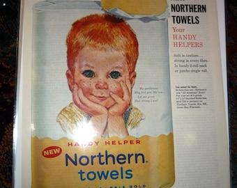 Northern Towels All American Boys Redhead Ad 1961