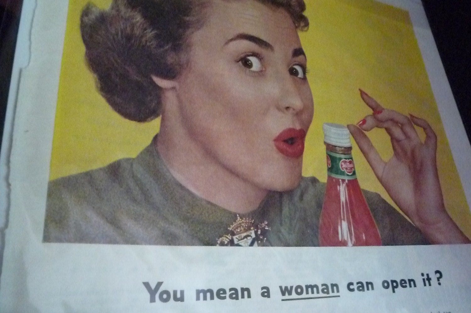 1953 alcoa aluminum ad you mean a woman can open it catsup. Black Bedroom Furniture Sets. Home Design Ideas