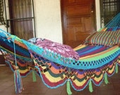Hammocks, Beautiful Turquoise Double Hammock hand-woven Natural Cotton Special Fringe