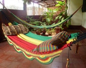 Rastafari Colors Two, Double Hammock hand-woven Natural Cotton Simple Fringe