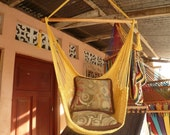 Yellow Sitting Hammock, Hanging Chair Natural Cotton and Wood