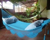 Turquoise hammock, Double Hammock hand-woven Natural Cotton Simple Fringe