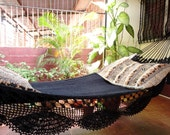 Black Magic Two, Single Hammock hand-woven Natural Cotton Simple Fringe
