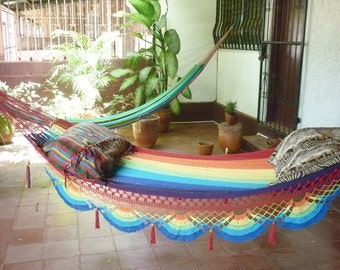 Rainbow magic Two, Beautiful single size hammock, Rainbow colors combination with Special Fringe