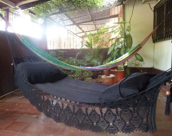Magic Black Magic Hammock, Hand Woven Natural Cotton with Bell Fringe Crochet