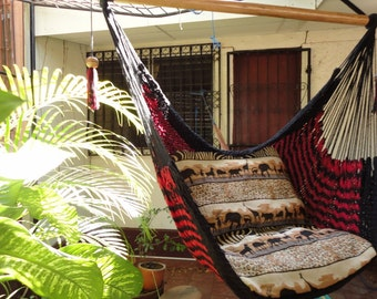 Red and Black Sitting Hammock, Hanging Chair Natural Cotton and Wood