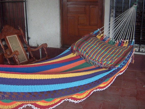 Multicolor Double Hammock, White Strings, Simple Fringe