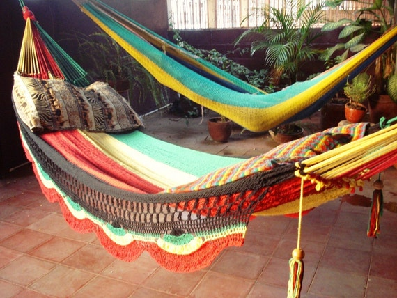 Rastafari Colors, Single Hammock hand-woven Natural Cotton Simple Fringe