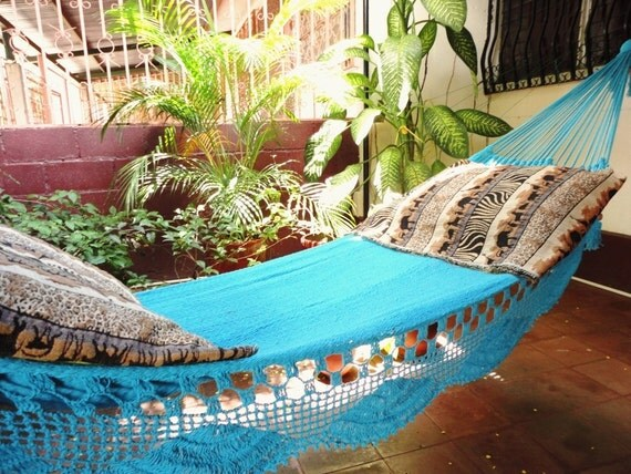 Blue Turquoise Beautiful, Single Hammock Handmade Cotton Simple Fringe for Gift or Decoration