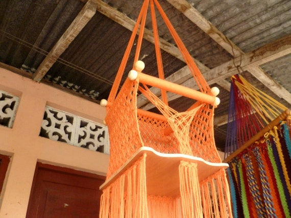 Orange Color Happy Baby, Chair Hammock for Children Handmade Furniture