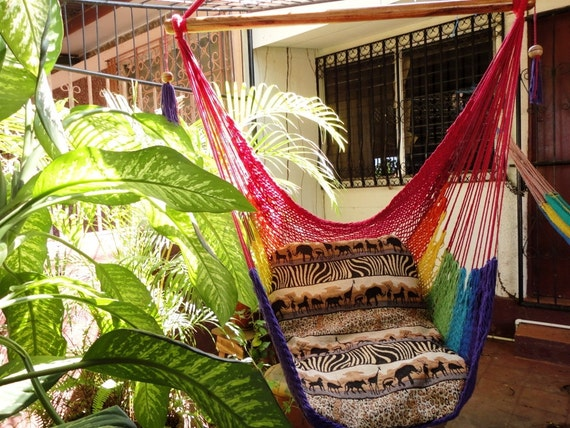 Rainbow Colors Sitting Hammock, Hanging Chair Natural Cotton and Wood