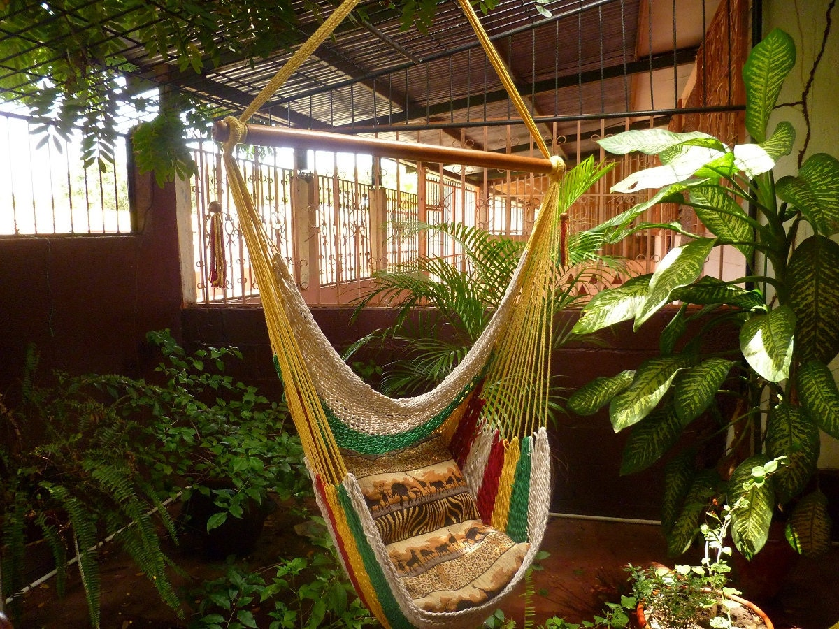 Multicolor Sitting Hammock Hanging Chair Natural Cotton And