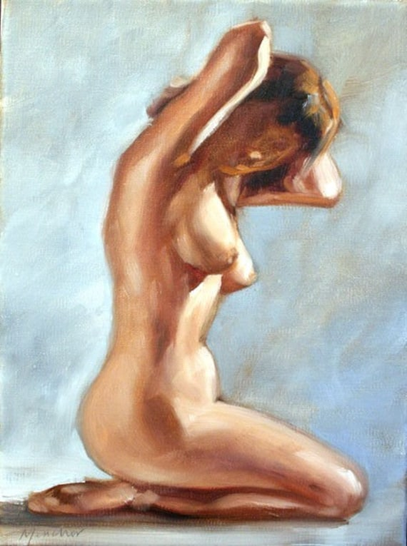 SALE Nude Study of Signe, oil paint on linen canvas 12x9 inches by Kenney Mencher