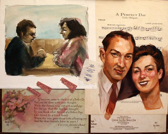 "Buzz and Sadie Word, 16""x20"" oilpaint, watercolor, and  ephemera on masonite panel in in vintage framed by Kenney Mencher"