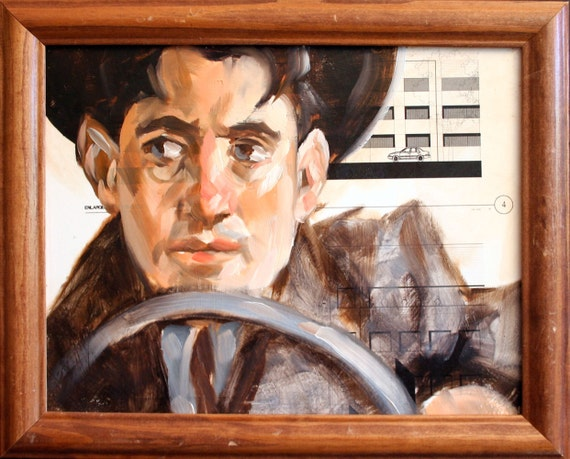 "Driver 10""x8""  in vintage frame, oilpaint, blue prints, on masonite panel  by Kenney Mencher"