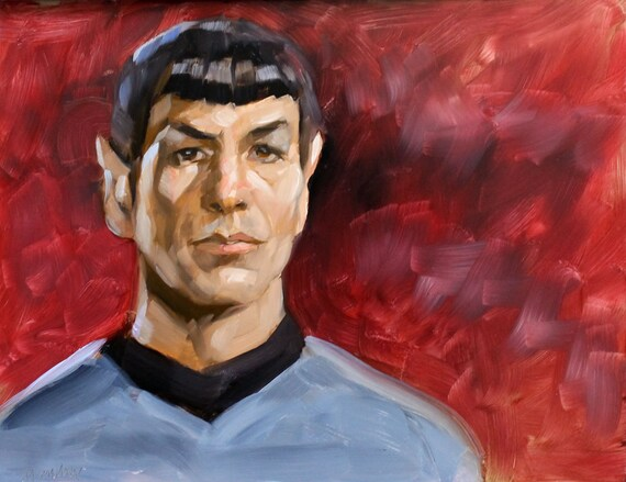 Spock by Kenney Mencher oil on masonite 11x14 inches