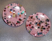 Vintage 1960s Pink Lucite Multi Colored Star Confetti Large Round  Retro Clip On Earrings
