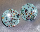 Vintage 1960s Blue Lucite Multi Colored Star Confetti Large Round Retro Clip On Earrings