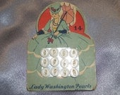 Antique Button Card Lady Washington Pearls with Crinoline Southern Belle Lady with Parasol