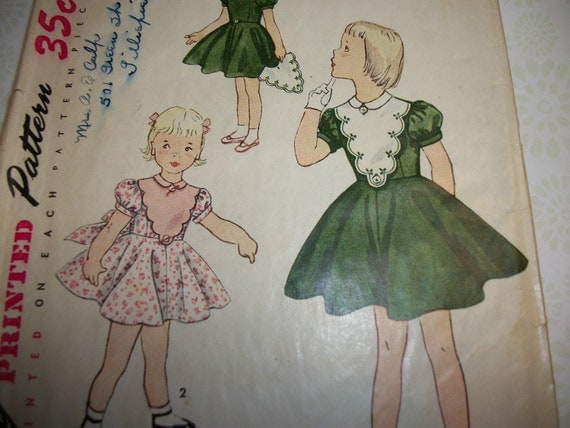 Vintage 1950s Simplicity Girls Dress With Full Skirt Detachable collar and Plastron Sewing Pattern Size 2 3753