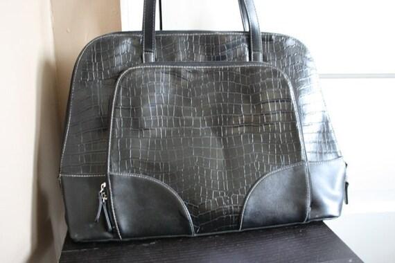 Vintage Purse Large Black Hobo Bowling Bag
