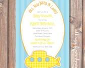 Submarine Printable Invitation Yellow Baby Boy Shower Under the Sea Nautical Ocean Blue Stripes Funky Boho Hippie Twin Boys Submarine Invite